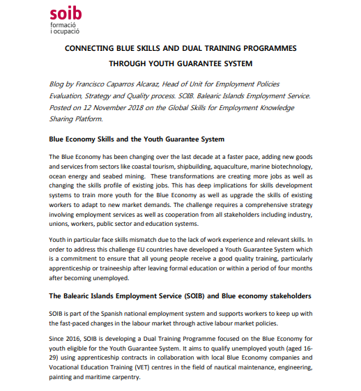 Connecting blue skills and dual training programmes through youth guarantee system