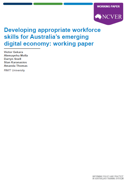 Developing appropriate workforce skills for Australia's emerging digital economy: working paper