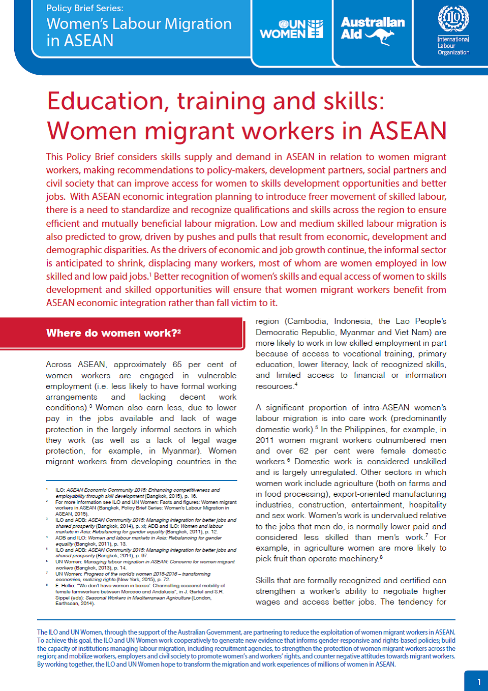 Education, training and skills: Women migrant workers in ASEAN