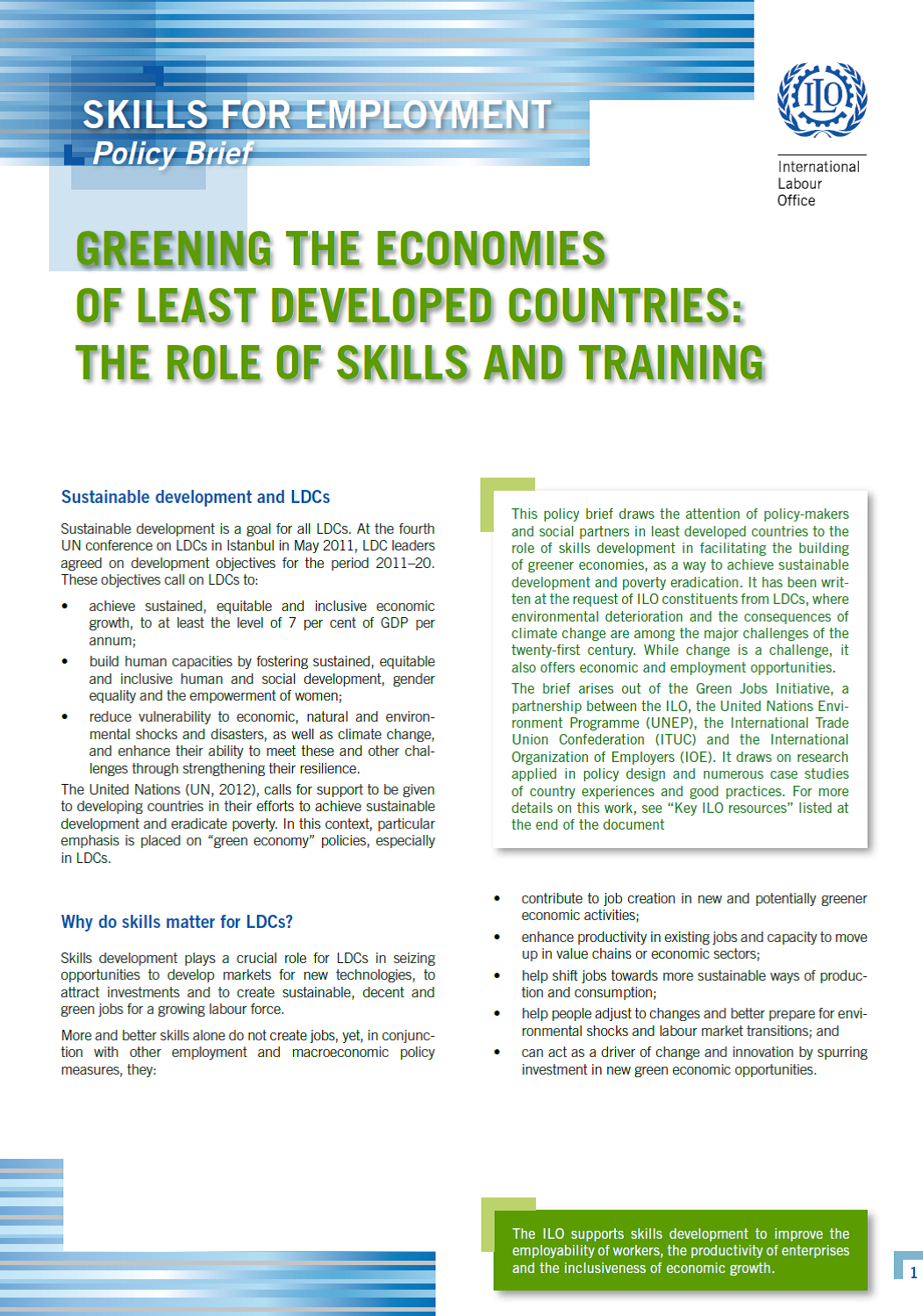 Greening the economies of least developed countries: The role of skills and training
