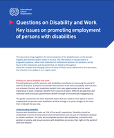 Key issues on promoting employment of persons with disabilities