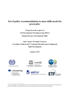 Set of policy recommendations to meet skills needs for green jobs