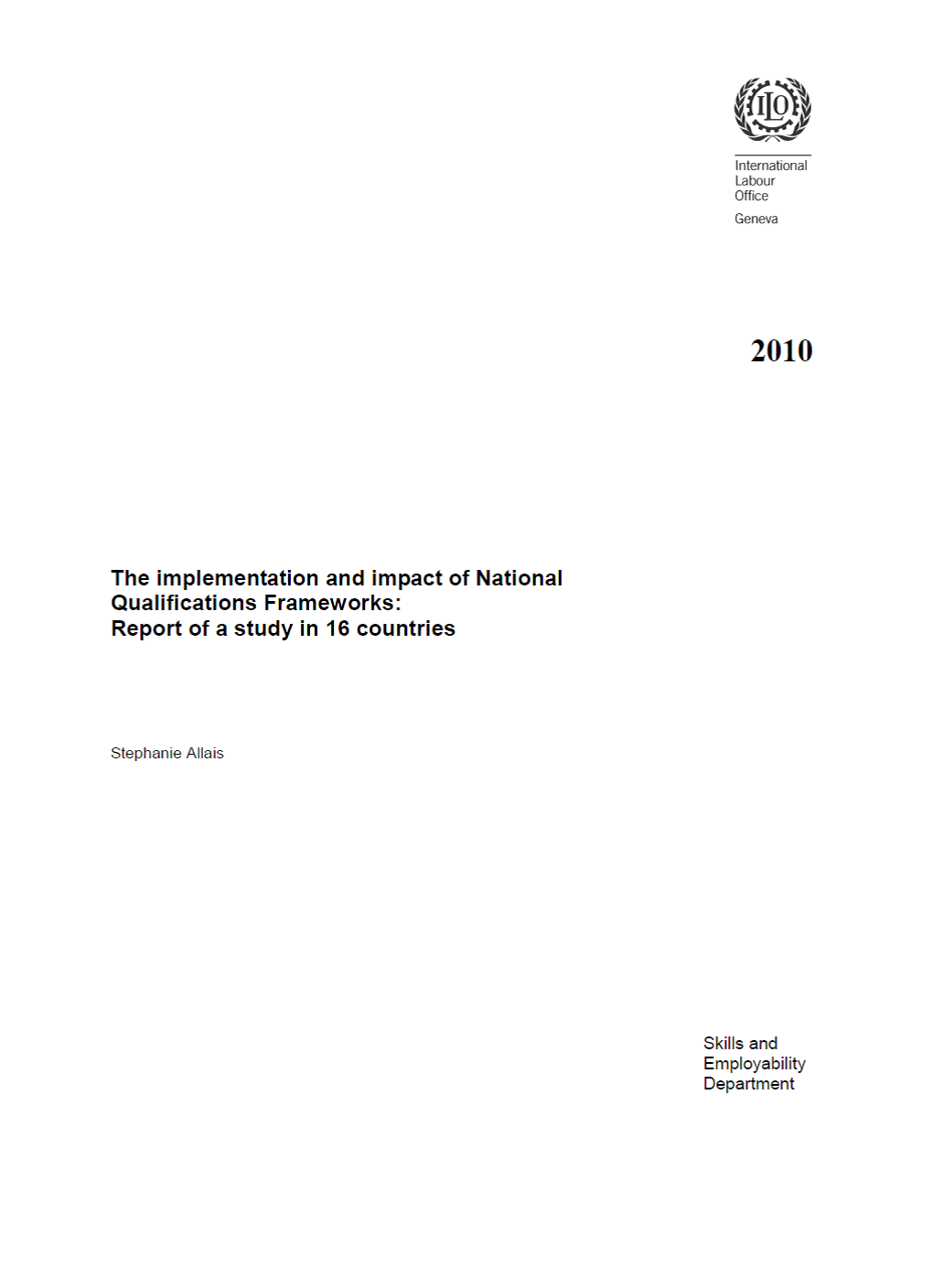 The implementation and impact of National Qualifications Frameworks: Report of a study in 16 countries